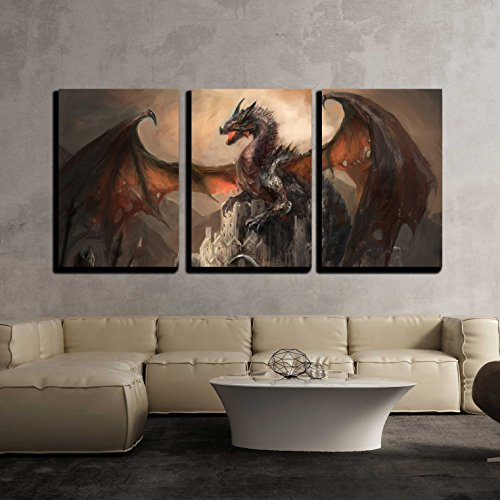 wall26 - 3 Piece Canvas Wall Art - War with the Dragon on Castle - Modern Home Decor Stretched and Framed Ready to Hang - 16