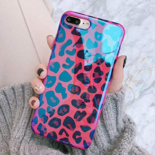 Girls Rose Red Shiny Leopard Theme iPhone Soft Case, Pink Blue Cute Animal Print iPhone Cover Blue-Ray Exotic Girly Fashion Stylish iPhone Case (iPhone 7 Plus/8 Plus) - Blue Ray Covers