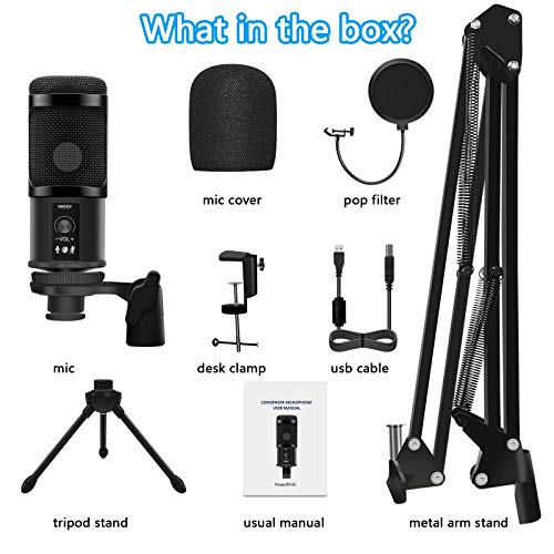 BOLWEO USB Microphone for PC, Podcast Microphone Gaming Mic Computer Microphone with Boom Arm Stand, USB Mic Streaming Microphone Kit for YouTube Video Studio Singing Teaching Recording Microphone