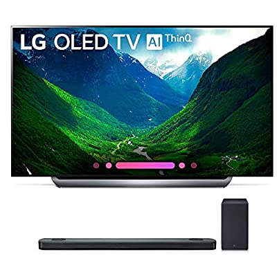 LG Electronics OLED77C8PUA 77-Inch 4K Ultra HD Smart OLED TV (2018 Model) Bundle with SK9Y 5.1.2 ch High Res Audio Sound Bar
