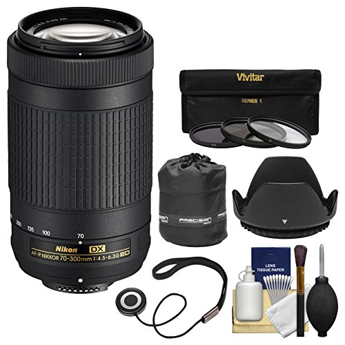 Nikon 70-300mm f/4.5-6.3G DX AF-P ED Zoom-Nikkor Lens with 3 Filters + Hood + Pouch + Kit for D3300, D3400, D5500, D7100, D7200 Cameras