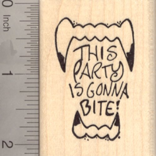 Halloween Party Rubber Stamp, Vampire Teeth, Bite by RubberHedgehog