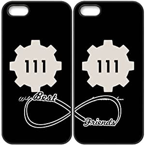 JiHuaiGu (TM) iPhone 5 5S funda negro BFF mejores amigos de Fallout 4-logotipo tema personalizado iPhone 5 5S funda DJ8565