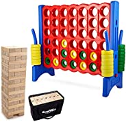 Giant 4 in a Row Connect Game + Giant Tumbling Timber Toy with Storage Bag - Extra Jumbo Oversized Floor Games