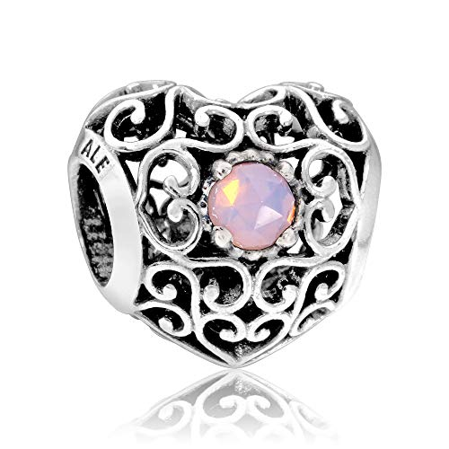 Pandora October Signature Heart Charm With Opalescent Pink Crystal 791784NOP (Crystal Pandora Charms)