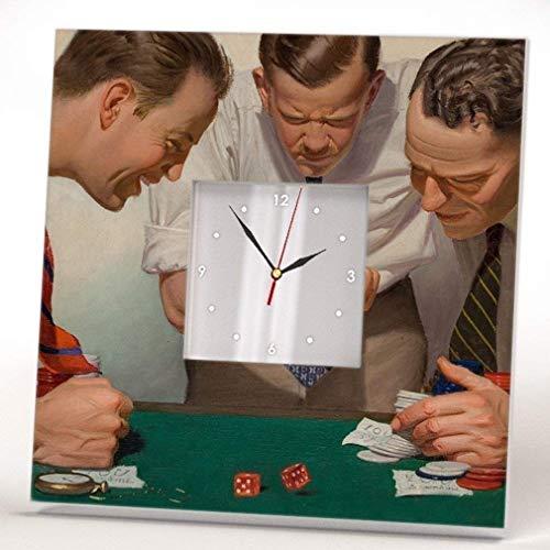 Casino theme Wall Clock Framed Mirror Decor Retro Gambling Fan Dice Art Printed Home Design Gift