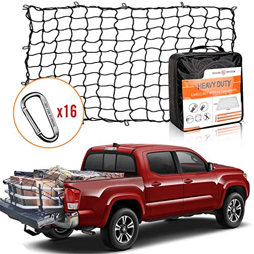 5' x 7' Bungee Cargo Net Stretches to 10' x 14' for Truck Bed, Pickup Bed, Trailer, Trunk, SUV with 16 Bonus D Clip Carabiners Universal Heavy Duty Car Rear Organizer Net (Truck Net)