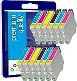 12 Haute Capacité Cartouches d'encre Compatibles pour Imprimante Epson Stylus Photo RX500