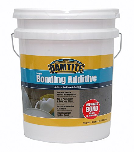 Concrete Bonding Additive - DAMTITE WATERPROOFING 05500 Damtite Bonding Additive, 5 Gal, Acrylic Liquid, White