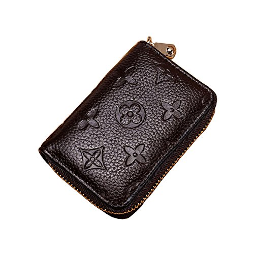 (Women RFID Blocking Credit Card Holder Wallet Men Leather Multi Zipper Purse (coffee))