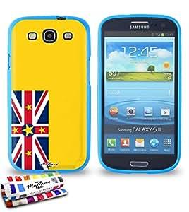 Carcasa Flexible Ultra-Slim SAMSUNG GALAXY S3 / I9300 de exclusivo motivo [Bandera Niue] [Azul] de MUZZANO  + ESTILETE y PAÑO MUZZANO REGALADOS - La Protección Antigolpes ULTIMA, ELEGANTE Y DURADERA para su SAMSUNG GALAXY S3 / I9300