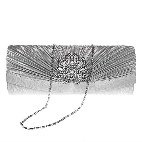 Superw Floral Silver Party Rhinestone amp; for Wedding Purses Evening Handbag Chain Pleated 3D Womens Bag Clutch rqwIBfr