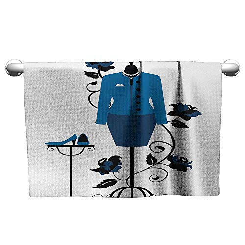 Bensonsve Art Towel Heels and Dresses,Mannequin in Tailors Shop with Blooming Flower Retro Classical,Blue Black White,Hooded Beach Towel for Girls