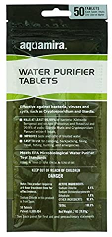 Aquamira Water Purifier Tablets, Tactical 50 pack (Military Water Purification)