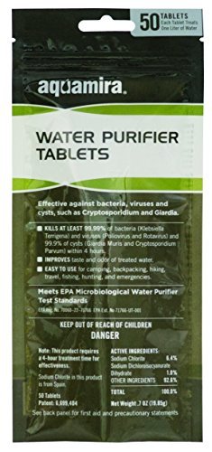 Aquamria - Chlorine Dioxide Water Purifier Tablets: Tactical 50 Pack