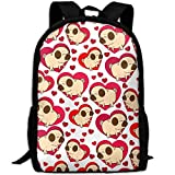 Best KAKA Work Backpacks - Pug and Pink Hearts Canvas Laptop Backpack Cute Review