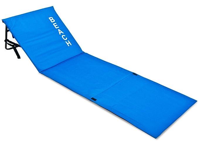 Deuba Strandmatte | Gepolstert Faltbar verstellbare Lehne Staufach Rückenlehne Badematte Isomatte Strandtuch Blau