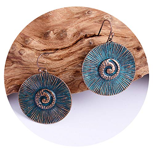 Vintage Antique Gold Color Round Earrings Charm Pendant Bohemian Style Creative Girls,AN001152-1