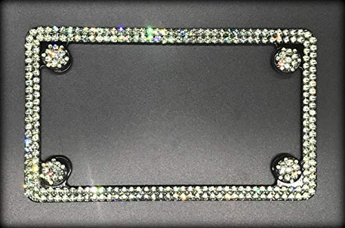Black Motorcycle License Plate Frame made with Black Diamond Swarovski Crystals - Motorcycle Jewelry ()