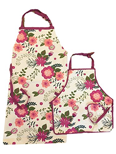 Bell & Curfew Mother and Child Floral Print Baking Aprons - 2 Pack Bundle by Bell & Curfew