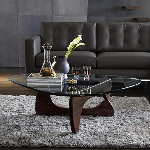 1inchHome Triangle Coffee Table, Eames Style 20mm Thick Transparent Glass End Table for Living Room, Lounge, Patio, Balcony, Study (Dark Walnut)