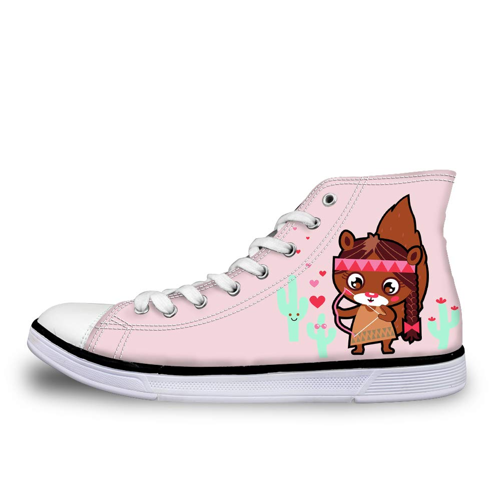 Canvas High Top Sneaker Casual Skate Shoe Mens Womens Cactus Indian Squirrel Female Cupid Archer