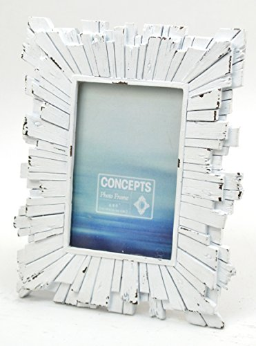 Concepts 4x6 White Picture Frame Wood Blocks Starburst Resin Features Decor