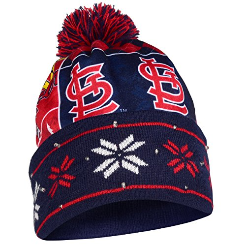 MLB St. Louis Cardinals Busy Block Printed Light Up Beanie, One Size, Red