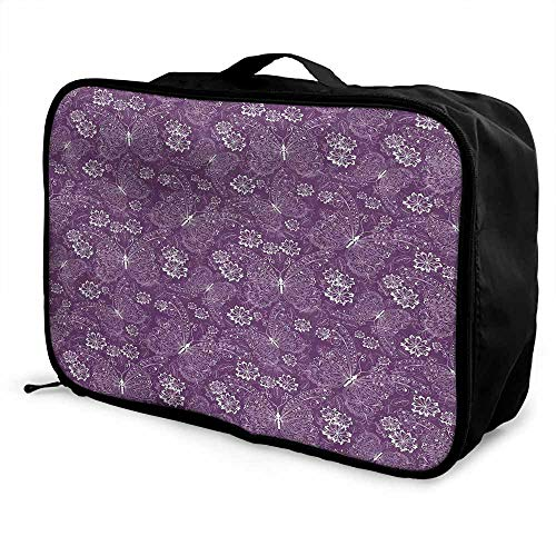 Plum Luggage trolley bag Floral Romantic Pattern with Vintage Style White Butterflies Swirly Wings and Flowers Waterproof Fashion Lightweight White Plum