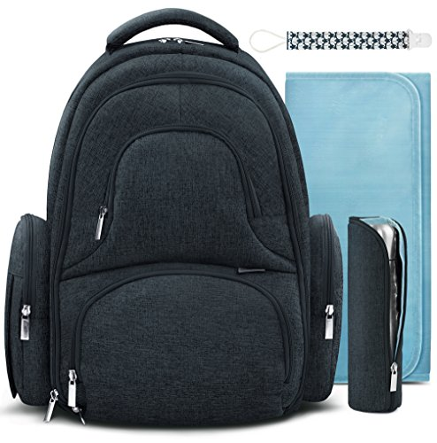 Swish Baby Diaper Bag Backpack w/Insulated Pockets and Stroller Strap - Large Waterproof Multi-Function Travel Organizer - Changing Pad, Bottle Holder and Pacifier Clip Included (Anthracite Gray)
