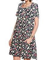JollieLovin Women's Pockets Casual Swing Loose T-Shirt Dress (4-Navy Blue, S)