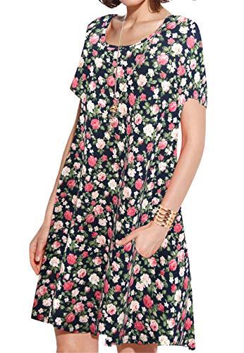 JollieLovin Women's Pockets Casual Swing Loose T-Shirt Dress (4-Navy Blue, M)