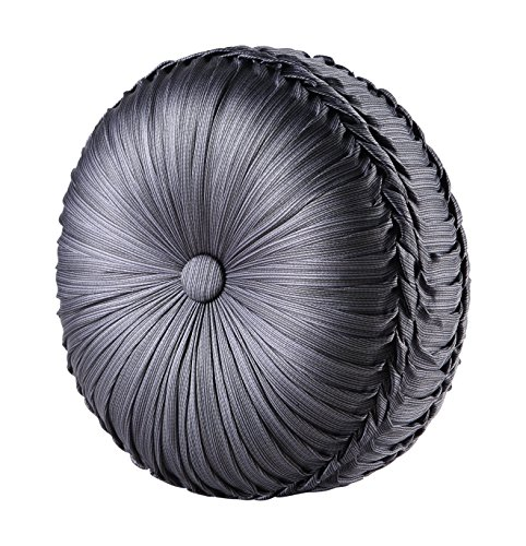 Five Queens Court Beaumont Tufted Round Throw Pillow, Graphite