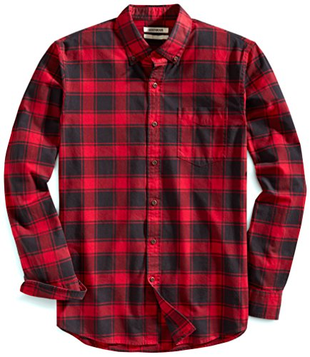 Goodthreads Men's Slim Fit Buffalo Plaid Oxford Shirt, Red Chili, Small
