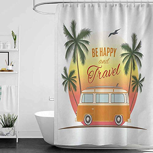 Denruny Royal Blue Shower Curtains for Bathroom Surf,Retro Surf Van with Palms Camping Relax Hippie Travel Be Happy Free 60s Theme,Orange Green Yellow W72 x L96,Shower Curtain for Shower stall