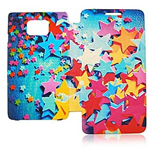 Scattering Five-Pointed Star Leather Case for Samsung Galaxy S2 I9100