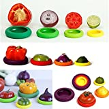 Cisixin 4PCS Reusable Flexible Silicone Food Savers Huggers Food Pouch Storage Containers for Fresh Food | Dishwasher Safe and BPA free Silicone Set in Assorted Colours