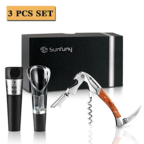 Sunfuny Wine Gift Set - 3 Pieces Wine Accessories Set - Corkscrew Bottle Opener,Wine Stopper,Wine Aerator Pourer with Elegant Gift Box for Every Occasion by Sunfuny