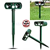 Poity Ultrasonic Solar Power Pest Animal Repeller Repellent Garden Cat Dog Fox Outdoor