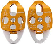 DYNWAVE 2 Pieces 32KN Side Plate Double Pulley Rock Climbing Pulley Climbing Tools Mountaineering Equipment fo