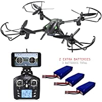 Contixo F6 RC Quadcopter Racing Drone 2.4Ghz 6-Axis Gyro with 720P Rotating HD Camera, FPV Live Feed, Headless, 3 Batteries Included, 360 Flips, Mobile App, Hover, VR Ready- Best Gift Idea