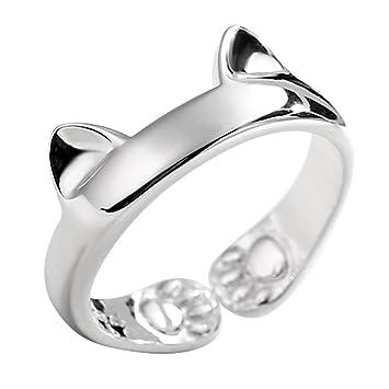 SLHP Anillo de plata de ley para mujer, diseño de oreja de gato, anillo