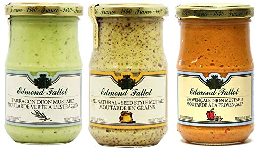 Edmond Fallot Mustard 3 Pack Assortment of Three Popular Flavors, Tarragon, All Natural Seed Style and Provencale Red Pepper (7 Ounce Bottle of Each)