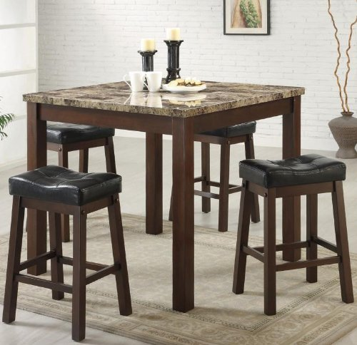 5pc Counter Height Dining Table and Stools Set Dark Cherry Finish