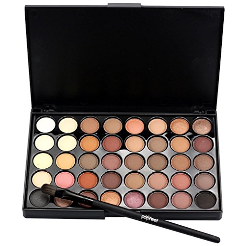 ow Palette 40 Color Natural Nude Matte Shimmer Glitter Pigment Eye Shadow Pallete + Brush Set Waterproof Smokey Professional Cosmetic Beauty Kit by CYCTECH (A) ()