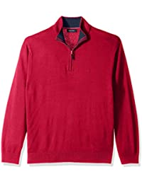Men's Long Sleeve 1/4 Zip Solid Sweater With Suede Pull...