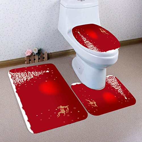 LLguz 3PCS Secure Comfortable Xmas Non-Slip Foot Pad+Seat Cover+Bath Mat Bathroom Set Christmas Decor (A) by LLguz
