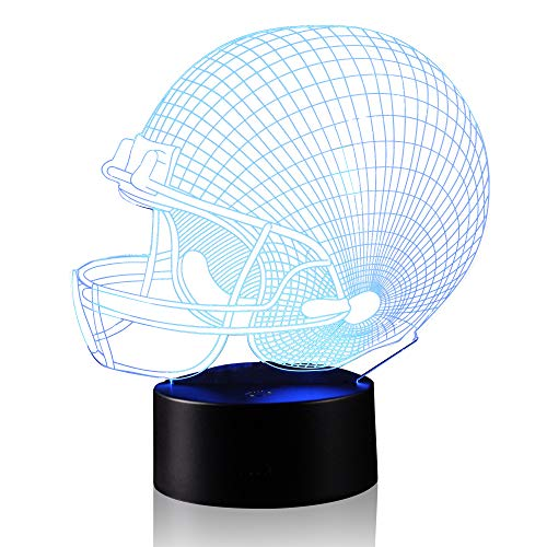 (3D Illusion Hemlet Rugby Football Cap Night Light Lamp with 7 Color Change, Touch Base, Power by AA Batteries)