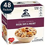 Quaker Instant Oatmeal, Raisin, Date & Walnut, Individual Packets, 48 Count