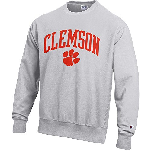 Elite Fan Shop Clemson Tigers Reverse Weave Crewneck Sweatshirt Gray - L